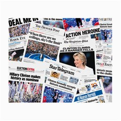 Hillary 2016 Historic Newspaper Collage Small Glasses Cloth (2 Side) by blueamerica