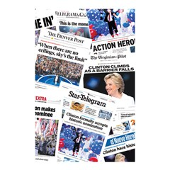 Hillary 2016 Historic Newspaper Collage Shower Curtain 48  X 72  (small)  by blueamerica