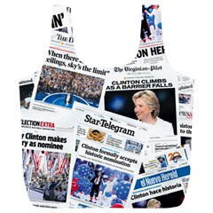 Hillary 2016 Historic Newspaper Collage Full Print Recycle Bags (l)  by blueamerica