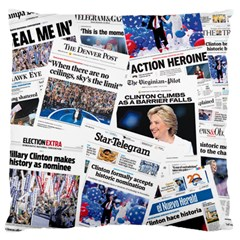 Hillary 2016 Historic Newspaper Collage Large Flano Cushion Case (one Side) by blueamerica
