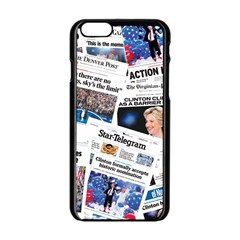 Hillary 2016 Historic Newspaper Collage Apple Iphone 6/6s Black Enamel Case by blueamerica