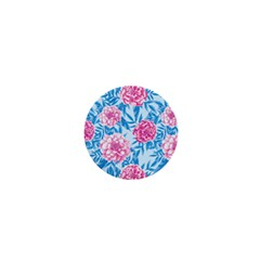 Blue & Pink Floral 1  Mini Magnets by TanyaDraws