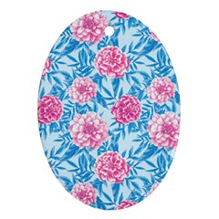 Blue & Pink Floral Ornament (oval)  by TanyaDraws