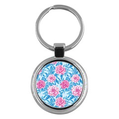 Blue & Pink Floral Key Chains (round)  by TanyaDraws