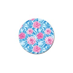 Blue & Pink Floral Golf Ball Marker by TanyaDraws