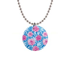 Blue & Pink Floral Button Necklaces by TanyaDraws