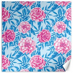 Blue & Pink Floral Canvas 20  X 20   by TanyaDraws