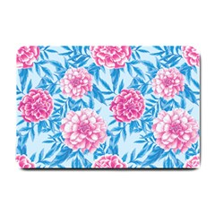 Blue & Pink Floral Small Doormat  by TanyaDraws