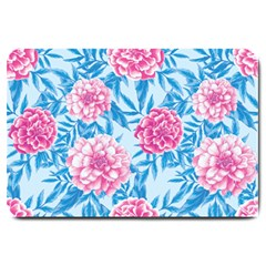 Blue & Pink Floral Large Doormat  by TanyaDraws
