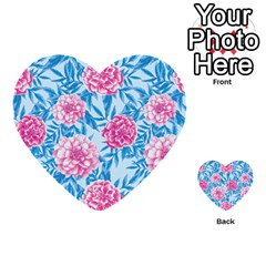 Blue & Pink Floral Multi Purpose Cards (heart)  by TanyaDraws