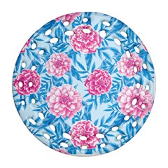 Blue & Pink Floral Ornament (round Filigree)  by TanyaDraws