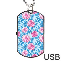 Blue & Pink Floral Dog Tag Usb Flash (one Side) by TanyaDraws