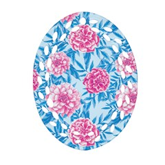 Blue & Pink Floral Oval Filigree Ornament (2 Side)  by TanyaDraws