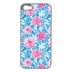 Blue & Pink Floral Apple Iphone 5 Case (silver) by TanyaDraws