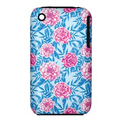 Blue & Pink Floral Apple Iphone 3g/3gs Hardshell Case (pc+silicone) by TanyaDraws