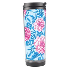 Blue & Pink Floral Travel Tumbler by TanyaDraws