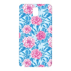 Blue & Pink Floral Samsung Galaxy Note 3 N9005 Hardshell Back Case by TanyaDraws