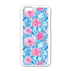 Blue & Pink Floral Apple Iphone 6/6s White Enamel Case by TanyaDraws