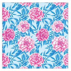 Blue & Pink Floral Large Satin Scarf (square) by TanyaDraws