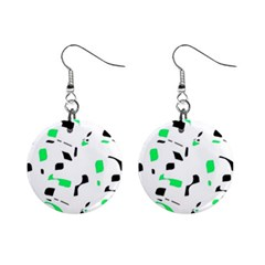 Green, Black And White Pattern Mini Button Earrings by Valentinaart