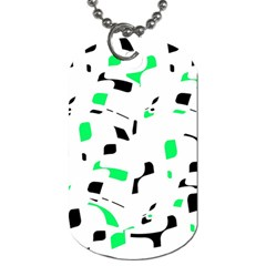 Green, Black And White Pattern Dog Tag (two Sides) by Valentinaart