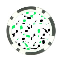 Green, Black And White Pattern Poker Chip Card Guards by Valentinaart