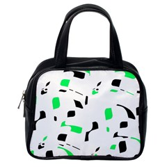 Green, Black And White Pattern Classic Handbags (one Side) by Valentinaart
