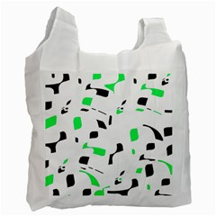 Green, black and white pattern Recycle Bag (Two Side)  by Valentinaart