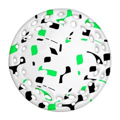 Green, Black And White Pattern Ornament (round Filigree)  by Valentinaart