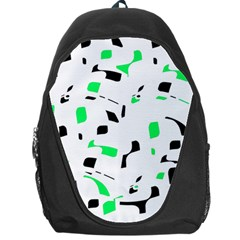Green, Black And White Pattern Backpack Bag by Valentinaart