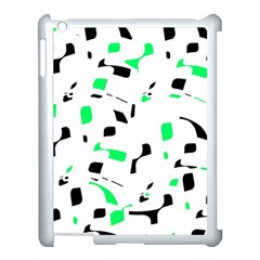 Green, Black And White Pattern Apple Ipad 3/4 Case (white) by Valentinaart