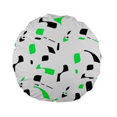 Green, Black And White Pattern Standard 15  Premium Round Cushions by Valentinaart