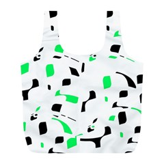 Green, Black And White Pattern Full Print Recycle Bags (l)  by Valentinaart