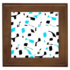 Blue, Black And White Pattern Framed Tiles by Valentinaart