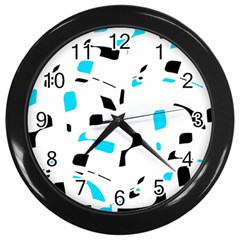 Blue, Black And White Pattern Wall Clocks (black) by Valentinaart