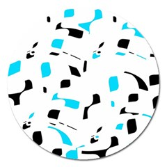 Blue, Black And White Pattern Magnet 5  (round) by Valentinaart
