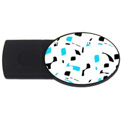Blue, Black And White Pattern Usb Flash Drive Oval (4 Gb)  by Valentinaart