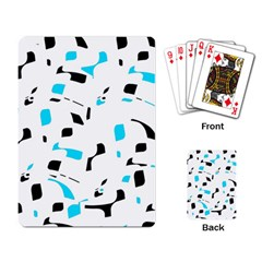 Blue, Black And White Pattern Playing Card by Valentinaart