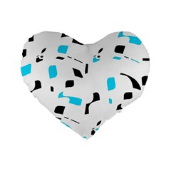 Blue, Black And White Pattern Standard 16  Premium Flano Heart Shape Cushions by Valentinaart