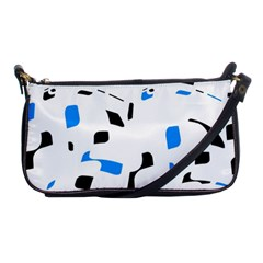Blue, Black And White Pattern Shoulder Clutch Bags by Valentinaart