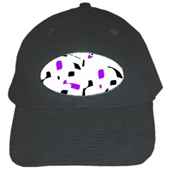 Purple, Black And White Pattern Black Cap by Valentinaart