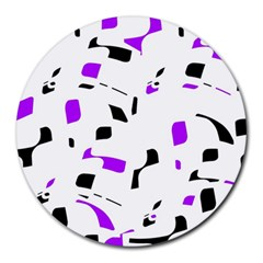 Purple, Black And White Pattern Round Mousepads by Valentinaart