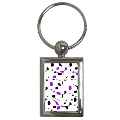Purple, Black And White Pattern Key Chains (rectangle)  by Valentinaart
