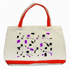 Purple, Black And White Pattern Classic Tote Bag (red) by Valentinaart