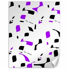 Purple, Black And White Pattern Canvas 18  X 24   by Valentinaart