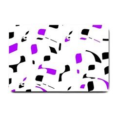 Purple, Black And White Pattern Small Doormat  by Valentinaart