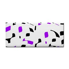 Purple, Black And White Pattern Hand Towel by Valentinaart