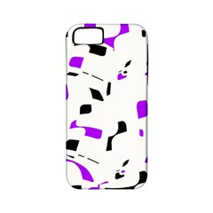 Purple, Black And White Pattern Apple Iphone 5 Classic Hardshell Case (pc+silicone) by Valentinaart