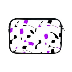 Purple, Black And White Pattern Apple Ipad Mini Zipper Cases by Valentinaart