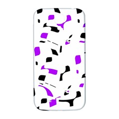 Purple, Black And White Pattern Samsung Galaxy S4 I9500/i9505  Hardshell Back Case by Valentinaart